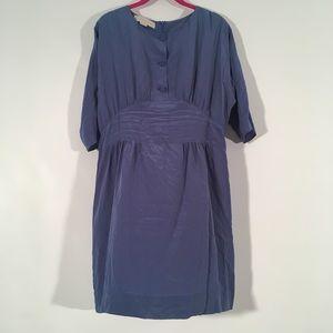 Stella McCartney Blue Silk Midi Button Dress 42 8